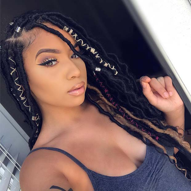 Long Faux Locs with Cords
