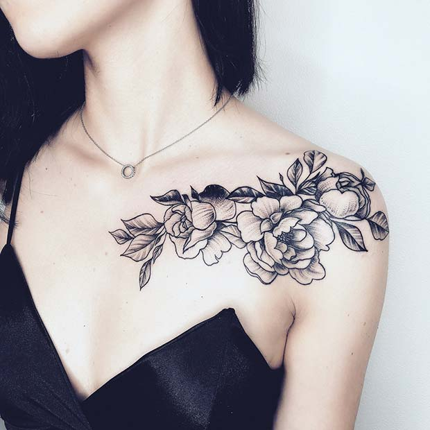 Flower Shoulder and Collar Bone Floral Tattoo