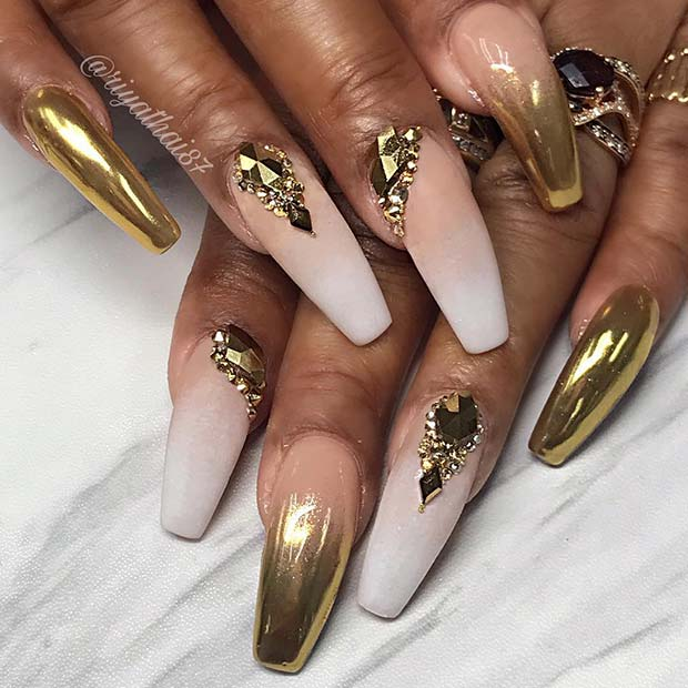 French Ombre and Gold Chrome Nails