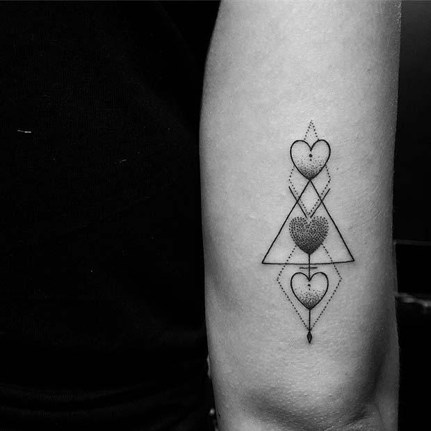 Geometric Heart Arrow Design