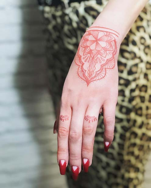 5f944dbcc 21 Unique Red Ink Tattoos That Are Sure to Stand Out | Page 2 of 2 ...