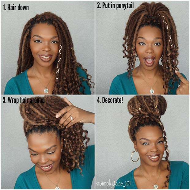 Glam Faux Locs Bun Tutorial