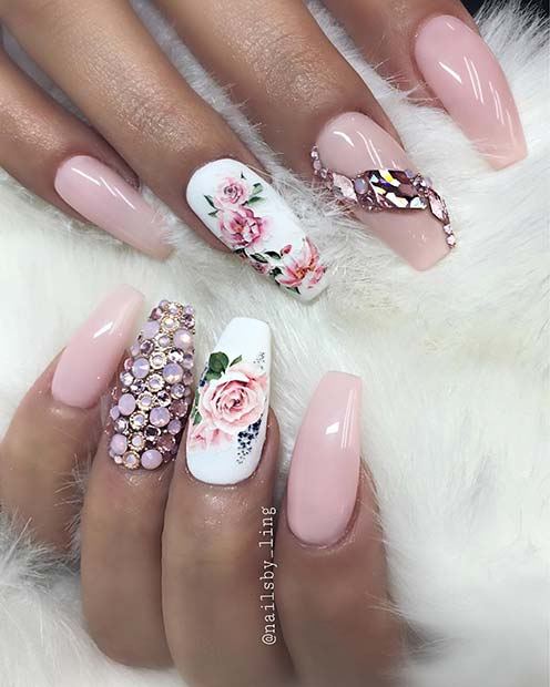 Glam Floral Nail Idea for Coffin Nails