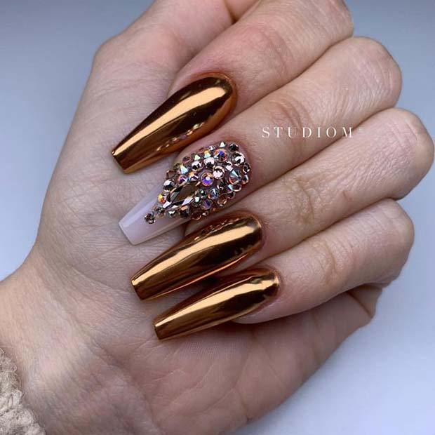 Gold Chrome Nails with Crystals