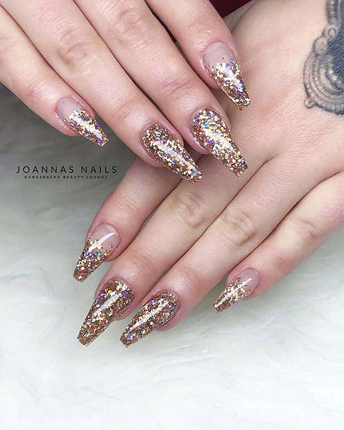 Gold Glitter Coffin Nails