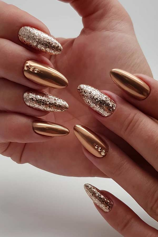Gold Glitter and Chrome Nails