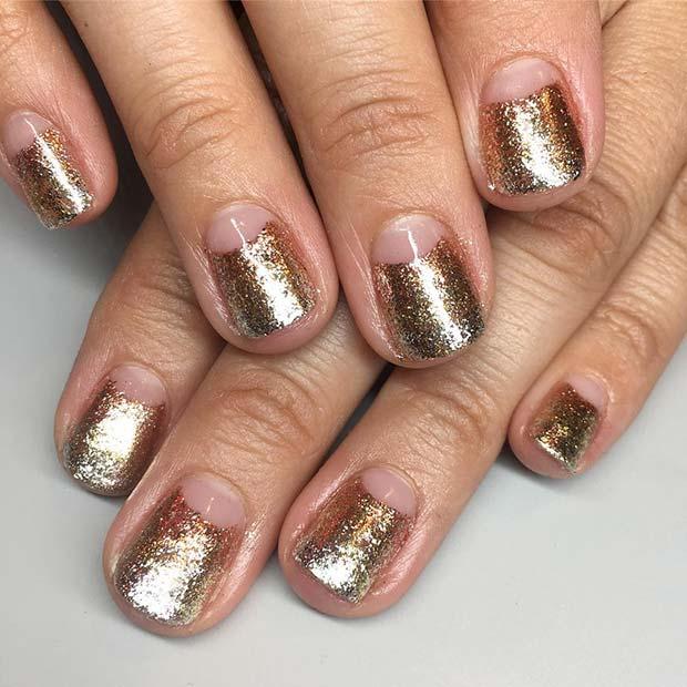 Gold Nail Design for Short Nails