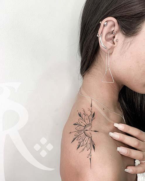Half Sunflower and Arrow Tattoo Idea