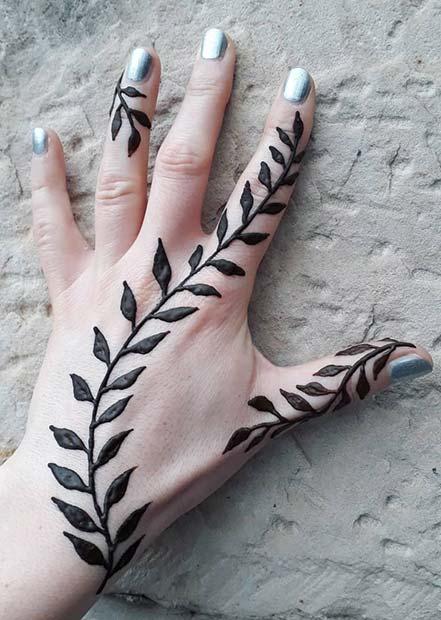 Leafy Henna Hand Design