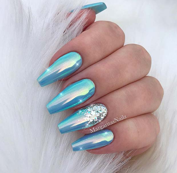 Light Blue Chrome Nails
