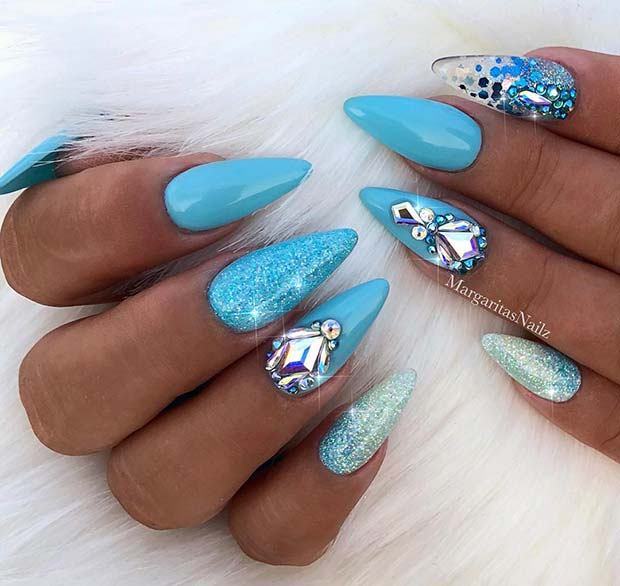 Short, Light Blue Stiletto Nails