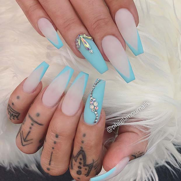 Matte, Light Blue Nails with Rhinestones