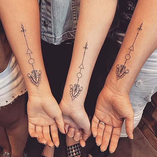 Matching Arrow Tattoos for Sisters or BFFs