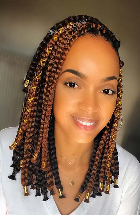 Black and Brown Short Box Braids
