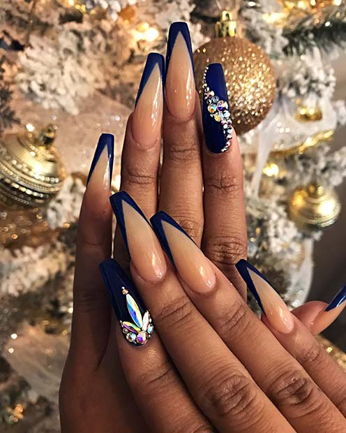 Matte Coffin Nails with Blue Tips and Crystals