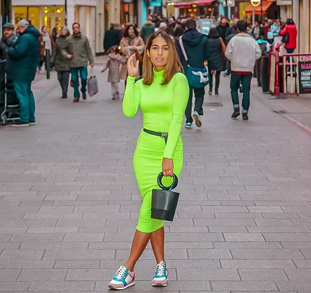 Long Neon Dress with Sneakers