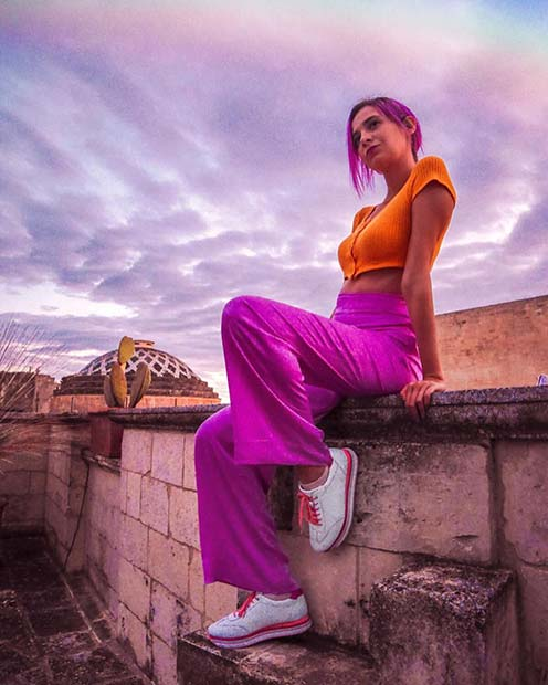 Neon Orange and Purple Summer Outfit