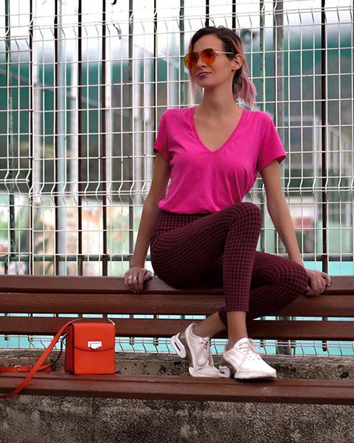 Neon Pink Top and Trendy Trousers