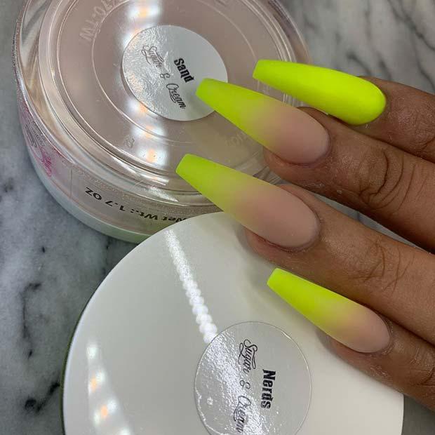 Matte Neon Yellow Nail Idea