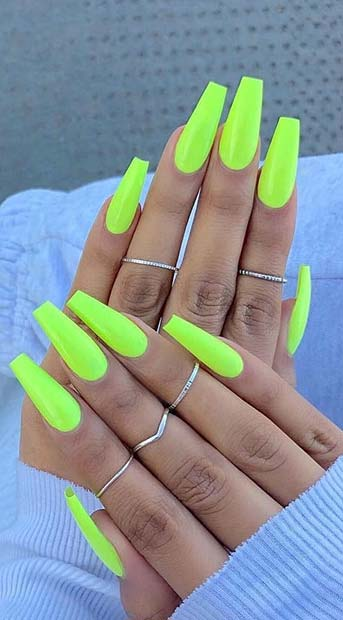 Neon Yellow Coffin Nails