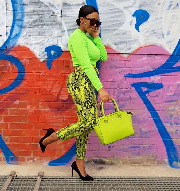 Neon and Snake Pattern Outfit Idea