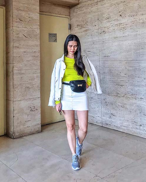 Neon and White Denim Outfit Idea