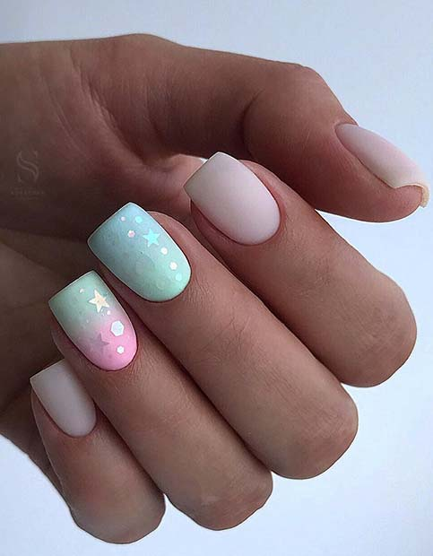 Nude and Pastel Nails with Stars