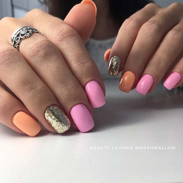 Pastel Pink and Orange Nail Design
