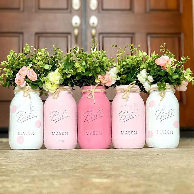 Pink DIY Mason Jars