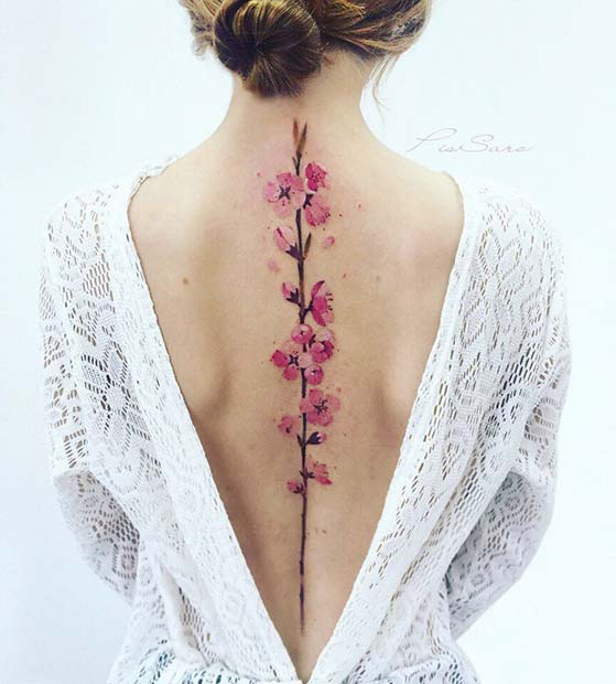 Watercolor Flower Spine Tattoo