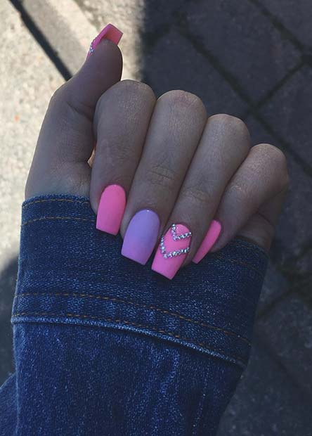 Pink and Purple Summer Nail Design