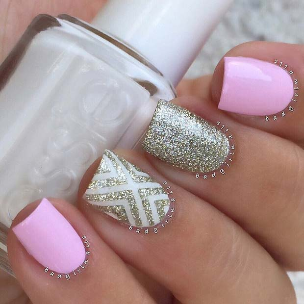 Pink and Sparkly Spring Nails