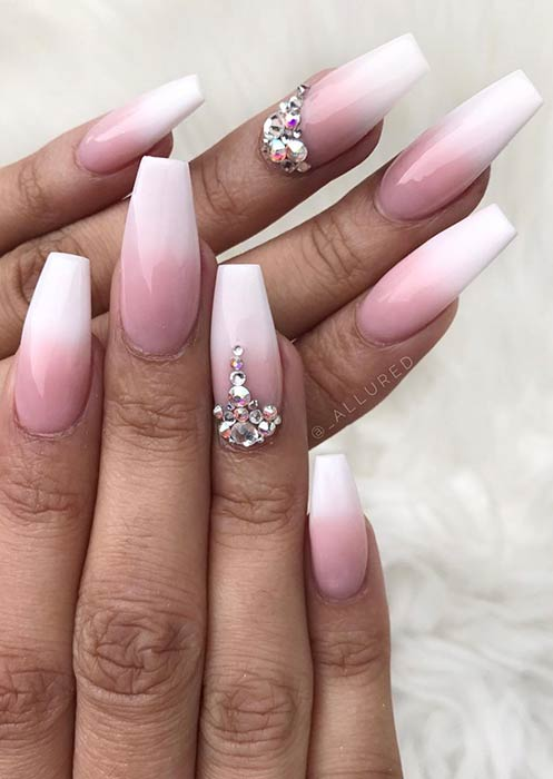 Pink and White Ombre Nails with Rhinestones
