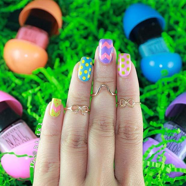 Colorful Polka Dot and Chevron Easter Nails