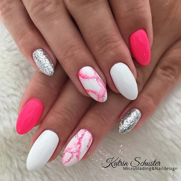 Pretty Pink Marble Nail Idea