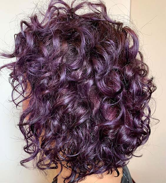 Messy Purple Curly Hair