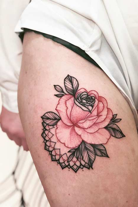 Red Ink Rose Tattoo Idea