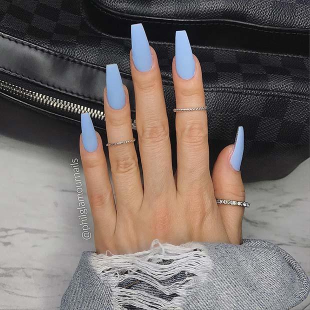 Matte Pastel Blue Nail Idea