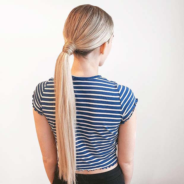 Simple and Sleek, Low Ponytail Idea