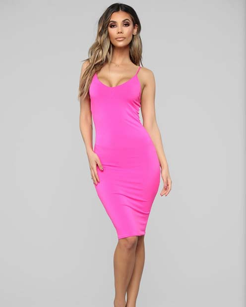 Simple and Stylish Neon Pink Dress