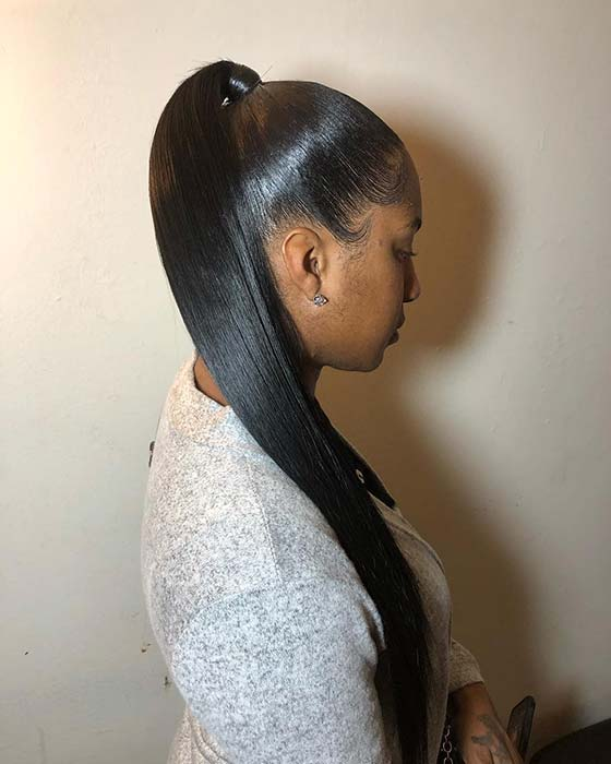 Sleek High Ponytail with Weave