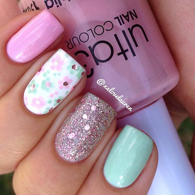 Sparkly Flower Nails for Spring