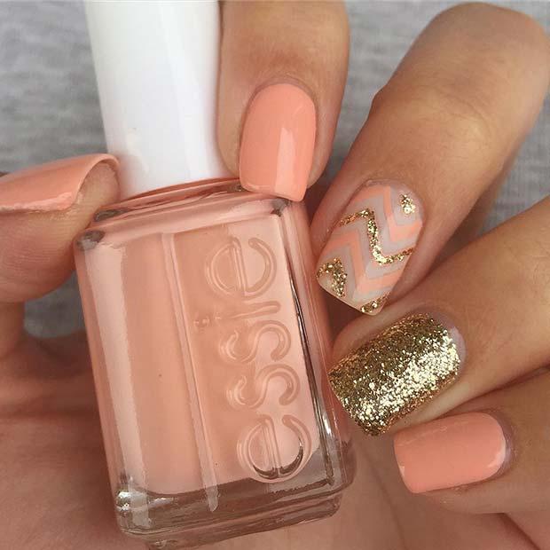 Peachy and Gold Glitter Chevron Nails