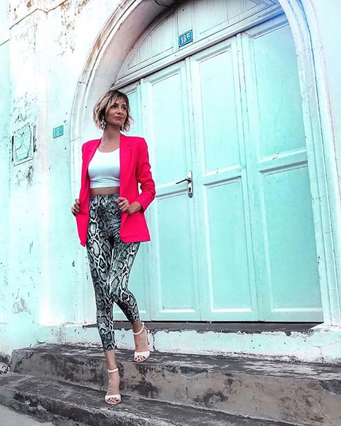 Snake Print Trousers and Neon Jacket