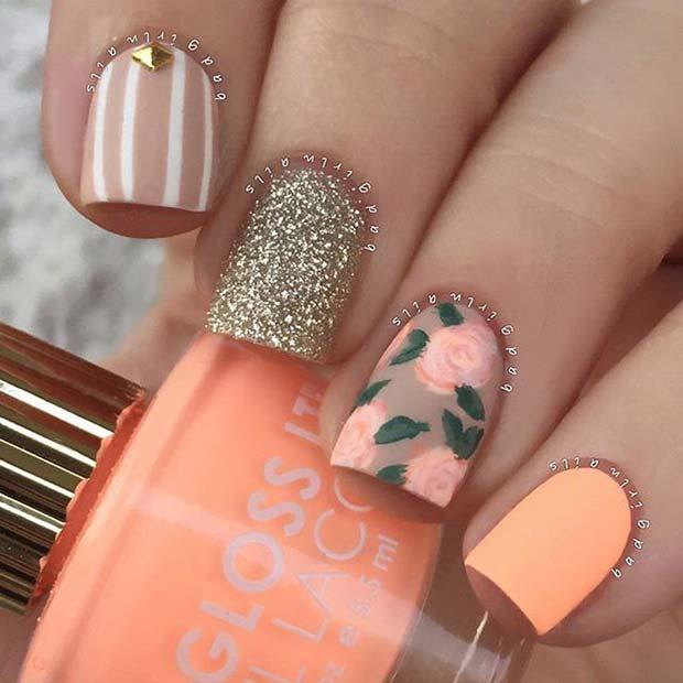 Peachy Floral Nail Art Design