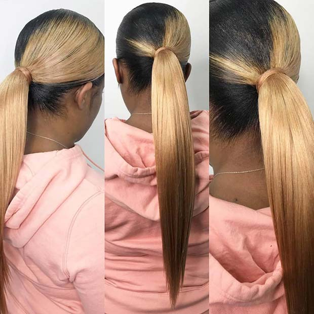 Stylish Black and Blonde Ponytail