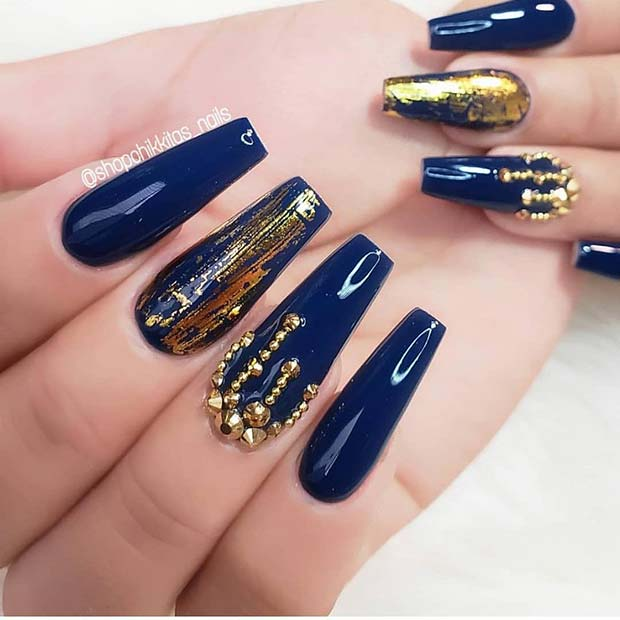 Stylish Blue and Gold Nails