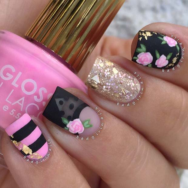 Stylish Pink and Black Floral Nail Design