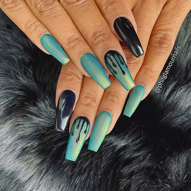 Trendy Blue Drip Coffin Nails