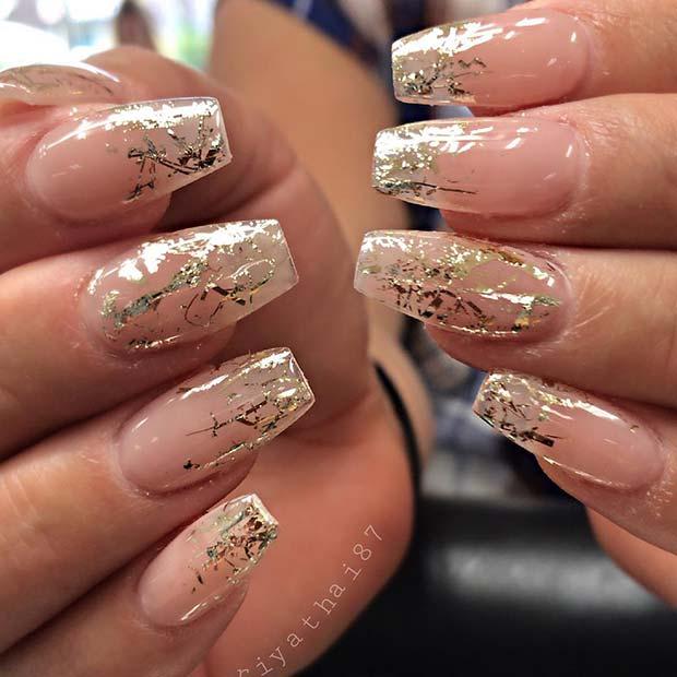Trendy Gold Nail Design